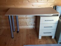 Beech Desk with 3 Drawers and pull-out table