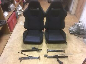 Recaro Evo 8 Front Seats on Honda Civic EG Rails BLUE/BLACK