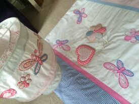 Girls Butterfly Cot Duvet Cover with Matching light shade and 2 Wall Hooks
