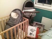 Stokkes Grey pram,stroller,cot and bouncy seat
