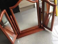 Wooden triple mirror
