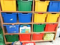 NURSERY PRE- SCHOOL STORAGE UNITS TABLES CHAIRS TUFF TRAYS TRAIN SET CONSTRUCTION