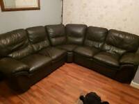 Leather recliner corner sofa - dark brown - land of leather