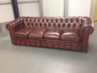 Chesterfield four seat sofa oxblood delivery possible
