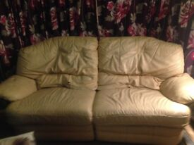Leather double recliner sofa, old and well worn but very comfy. Free collection only.