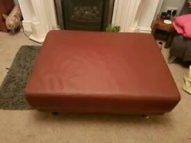 Large leather sofa foot stool