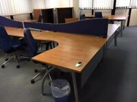 fantastic 1.6 meter radial desk with pedstal we have 10 avaiable price for each is £130