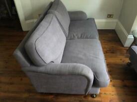 3 seater taupe fabric sofa