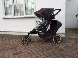 Phil & Teds Explorer Buggy with additional seat, coccoon baby carrier and storm rain cover