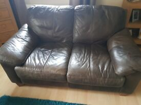 Leather sofa and storage foot stool