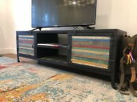 Metal and Wood Multicolored T.V. Unit