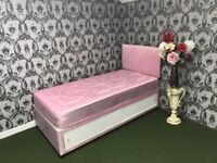 Girls Pink Heart Divan Bed Set with Sliding Door Storage, Mattress and Headboard. Brand New