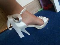 Ivory Satin Wedding Shoes Size 5