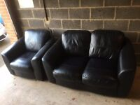 Black Leather Sofa and matching Chair