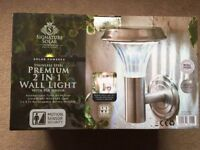 ( New ) Signature Solar Stainless Steel Premium 2 in 1 Wall Light with PIR