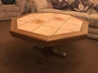 Wood and tile solid Dutch wood Coffee table