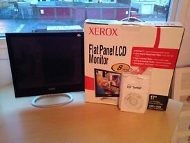 """XEROX 17"""" FLAT PANEL LCD MONITOR IN EXCELLENT CONDITION IN BOX WITH INSTALLATION DISK AND STAND"""