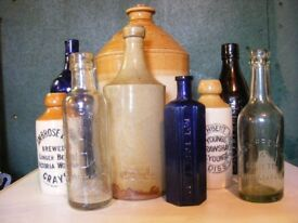 OLD BOTTLES, FLAGONS, SODA SYPHONS, GINGER BEER BOTTLES WANTED BY COLLECTOR
