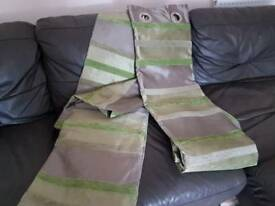 NEXT CURTAINS GREEN/GREY 90 drop X 53 width