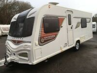 ☆ 2014 BAILEY UNICORN CADIZ 2 ☆ 4 BERTH TOURING CARAVAN ☆IMMACULATE☆ FSH ☆ TWIN SINGLE BED LAYOUT ☆