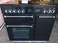 Black Rangemaster electric halogen cooker 90cm