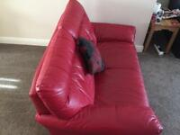 Settee Two Seater Sofa in Red Leather