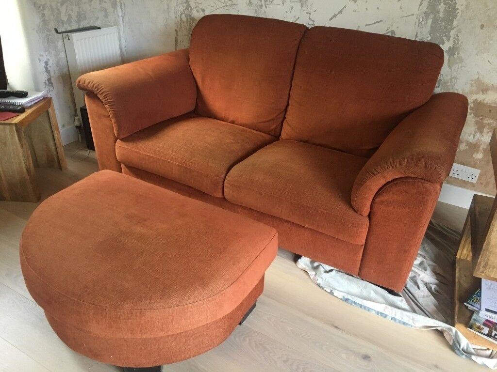 Ikea Tidafors 2 Seat Orange Sofa Pouffe