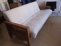 FUTON - 'OKE' - 3 Seater Sofa Bed - Solid Oak. Rarely used and in good condition. £220 ono