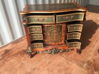 French loui style repro Serpentine cabinet With cupboard and draw storage space