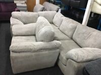 New/Ex Display Grey Dfs Cord Corner Sofa + dfs Chair