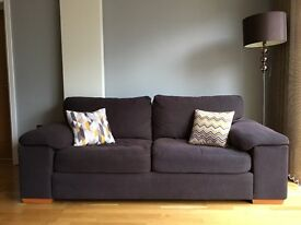 Brown Fabric 3 Seater Sofa