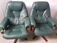 Pair of leather reclining chairs