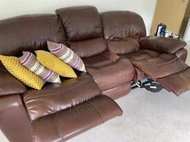 3 + 1 Full leather brown reclining sofa