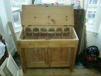 Vintage pine desk with gothic pigeon holes