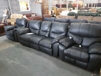 PRE OWNED Manual Reclining 3 Seater Sofa + Manual Rec Chair + Power Rec Chair in Black Leather