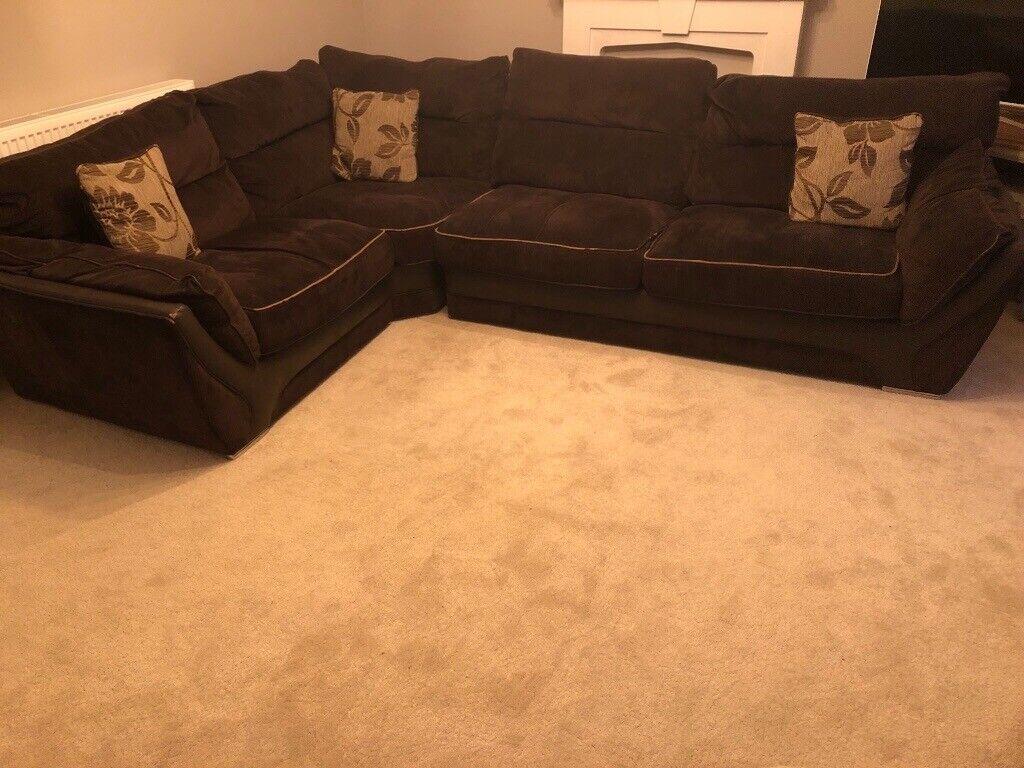 Astonishing Fabric L Shaped Couch Dark Brown In East Kilbride Glasgow Gumtree Cjindustries Chair Design For Home Cjindustriesco