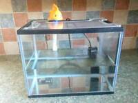 Glass fish tank with filter , temp, net