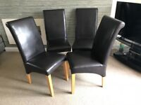 4 Brow Faux Leather Dining Chairs.