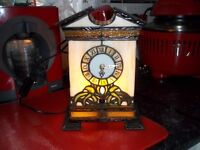 beautiful tiffany clock light up,10inch tall and 7,inch wide