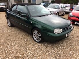 VW Golf 2.0 Avantgarde automatic convertible. W reg 2000 in dark metallic green.