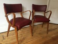 Benchair Vintage and Retro Crimson Vinyl Carver Dining Chairs Armchair