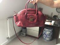Lanvin of Paris maroon/ cherry red leather handbag