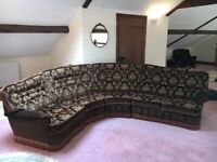Bridgecraft five seater corner sofa, two arm chairs and foot stool - free to a good home!