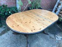 Solid wood dining kitchen table, retractable, extending