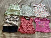 6 Girls Short Sleeve Tops. Age 3-6 months.