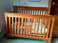 Nursery furniture, convertible cot and bed with chest of drawers and bookcase unit