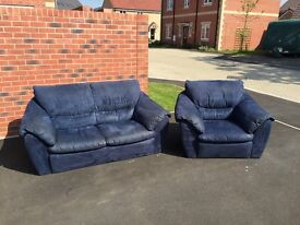 Sofa and Armchair set in Navy Blue Suade