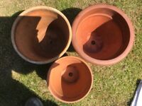 Three Terracotta Plant Pots