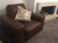 Leather reclining chair brown
