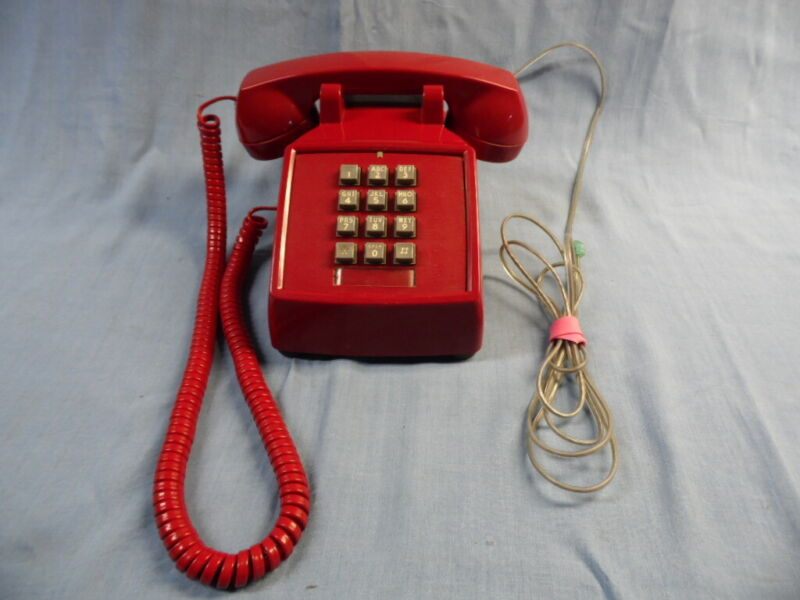 VINTAGE ITT CHERRY RED TOUCH TONE DESK PHONE - TESTED WORKS - VERY NICE!